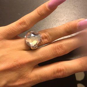 Pink crystal, teardrop ring